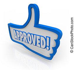 blu, thumb's, come, simbolo, su, approvato, accettato, stato accordo