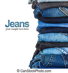 blu, tonalità, jeans, vario, fondo, bianco, pila