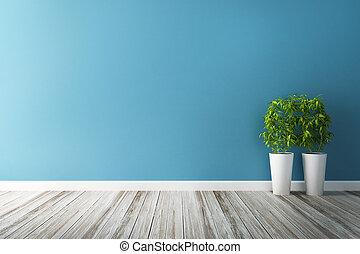 blu, trama, fiore, parete, interno, bianco
