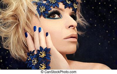 blu, trucco, lussuoso, manicure