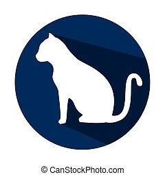 blu, uggia, silhouette, cerchio, gatto