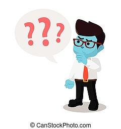 blu, uomo affari, punti interrogativi