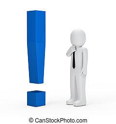 blu, uomo affari, punto esclamativo