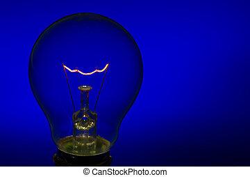 blu, urente, luce, vetro, luminoso, fondo, dritto, bulbo, filamento