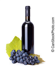 blu, uva, gruppo, bottiglia, vino rosso
