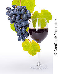 blu, uva, vetro, gruppo, vino rosso
