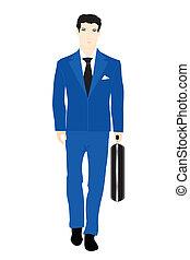 blu, valise, uomini, illustrazione, turno, completo