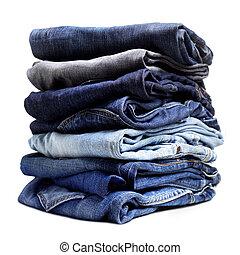 blu, vecchio, jeans