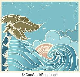 blu, vecchio, marina, manifesto, onda, sole grande