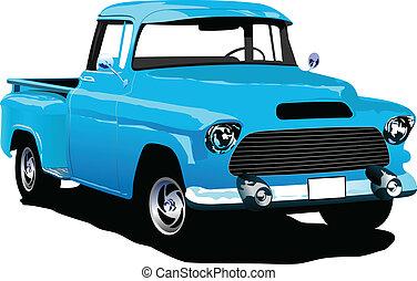 blu, vecchio, togliere, tesserati magnetici, pickup
