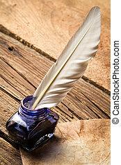 blu, vecchio, vendemmia, lettera, inchiostro, penna