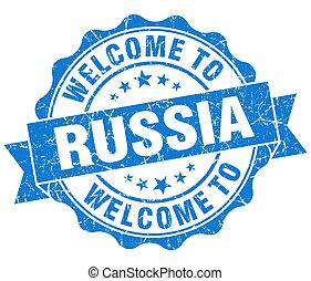 blu, vendemmia, benvenuto, isolato, sigillo, grungy, russia