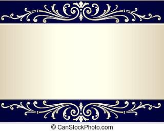 blu, vendemmia, rotolo, sfondo beige, argento