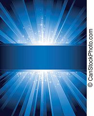 blu, verticale, scoppio, luce, stelle, copy-space
