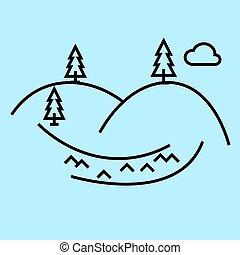 blu, vettore, colline, colpi, editable, illustrazione, segno, fondo, icona, linea
