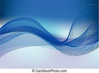 blu, vettore, fondo, onda
