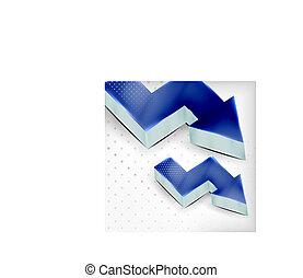 blu, vettore, freccia, fondo, 3d