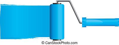 blu, vettore, illustrazione, vernice, parte, spazzola, vernice, 2, rullo