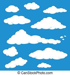 blu, vettore, nube cielo
