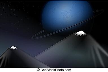 blu, vettore, pianeta