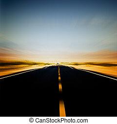 blu, vibrante, immagine, cielo, autostrada