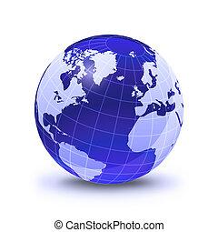 blu, vista., grid., colore globo, superficie, stilizzato, ardendo, atlantico, caduto, terra, bianco, oceano, baluginante, shadow.
