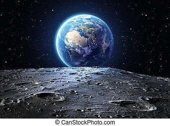 blu, visto, terra, luna