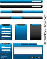 blu, web, elementi, collezione