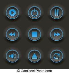 blu, web, giocatore, rotondo, bottoni