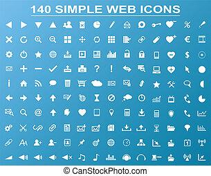 blu, web, set, 140, icone, semplice, isolato, fondo, bianco, navigazione