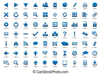 blu, web, set, navigazione, icone