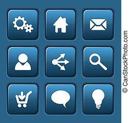 blu, web, set, vettore, bottoni, quadrato