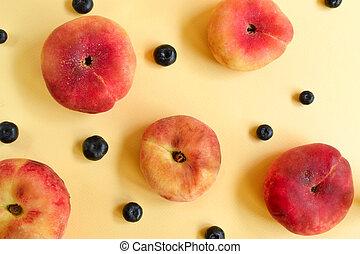 blueberry., concept., succoso, minimalistic, fondo., pesca gialla, cibo, creativo, maturo