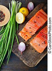 board., cima, taglio, salmone, vista