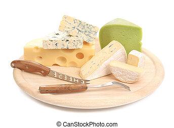 board., formaggi, taglio