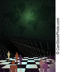 board., simbolico, codice, binario, scacchi, figure, umano