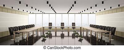 boardroom, interno, moderno, panorama, 3d