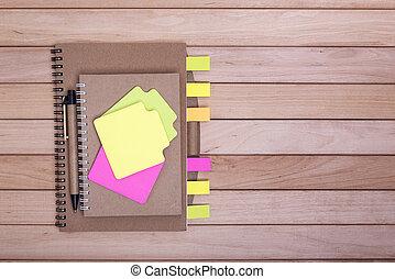 boards., legno, quaderni, adesivi, fondo