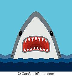 bocca, teeth affilato, aperto, squalo