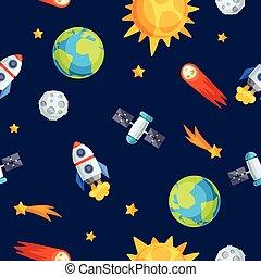 bodies., celestiale, pianeti, modello, sistema, seamless, solare