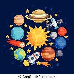 bodies., pianeti, celestiale, fondo, sistema, solare