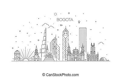 bogota, illustration., cityscape, vettore, famoso, linea, limiti, orizzonte, lineare, architettura
