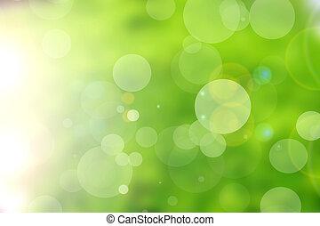 bokeh, estratto verde, fondo, natura