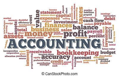 bolla, contabilità, parola, nuvola, etichette