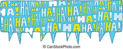 bolla, discorso, risata, gruppo