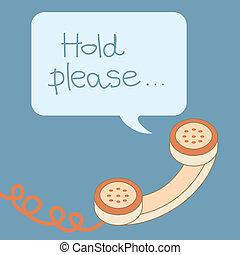 bolla, messaggio, manico, retro, telefono