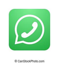 bolla, moderno, icona telefono, vettore, discorso