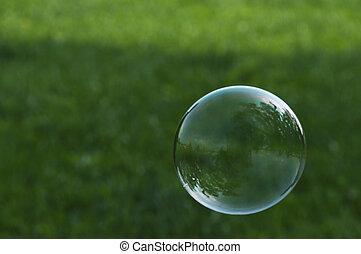 bolla sapone, erba, volare, fronte