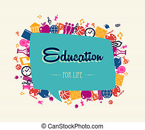 bolla, sociale, globale, icons., indietro, scuola, educazione