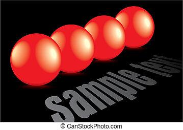 bolle, baluginante, riflessione, rosso, 3d